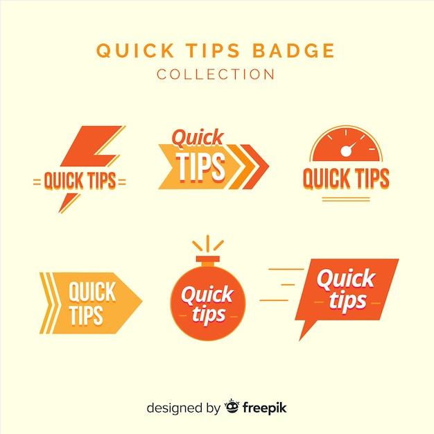 Collezione di badge per suggerimenti rapidi Vettore gratuito