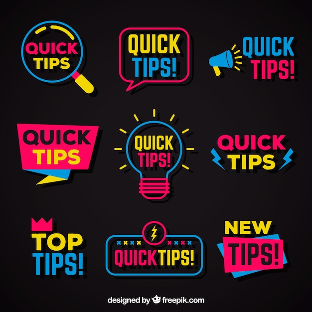 Free Vector   Quick tips badges collection