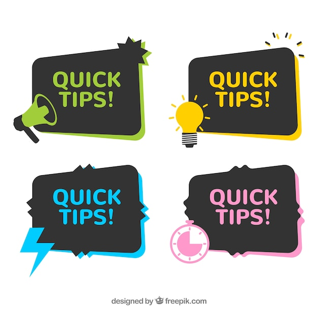 Quick tips badges collection Free Vector