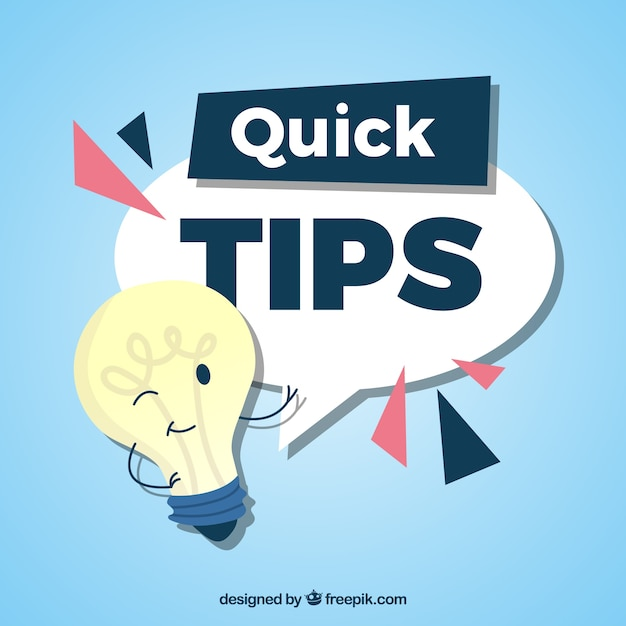 Quick tips composition with light bulb Free Vector