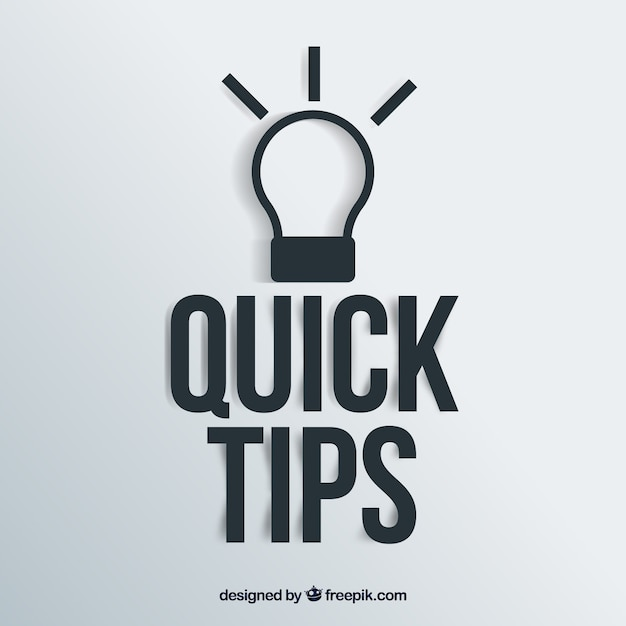 Quick tips concept with light bulb Free Vector