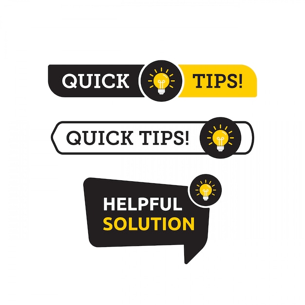 Quick tips, helpful tricks vector logo icon or symbol set with black and yellow color and lightbulb element Premium Vector