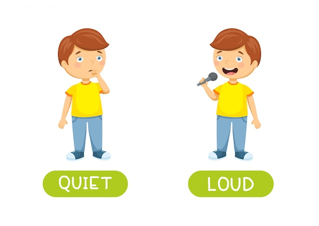 Quiet and loud. vector antonyms and opposites. cartoon characters illustration Premium Vector
