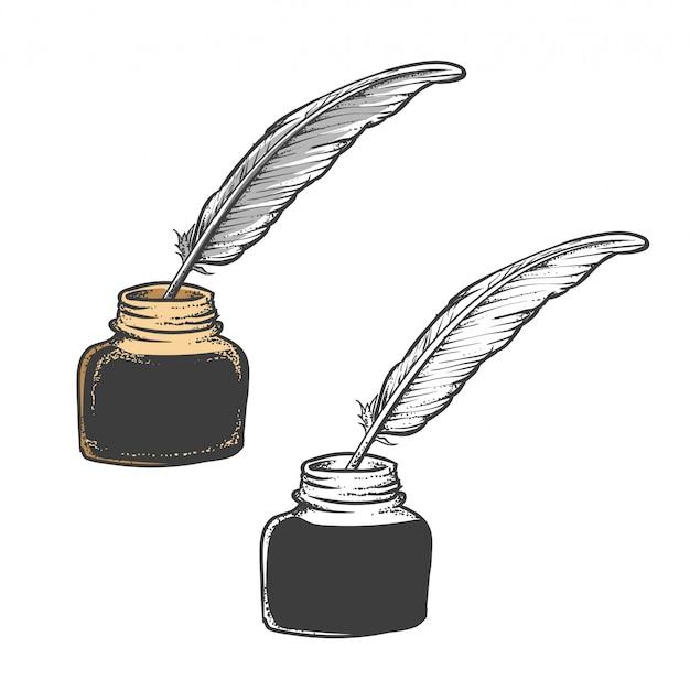 羽ペンまたは羽ペン Premiumベクター