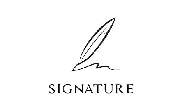 Построение логотипа quill signature Premium векторы