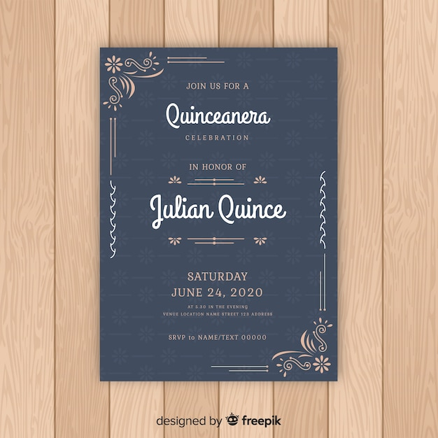 Quinceanera Floral Ornaments Invitation Template Vector