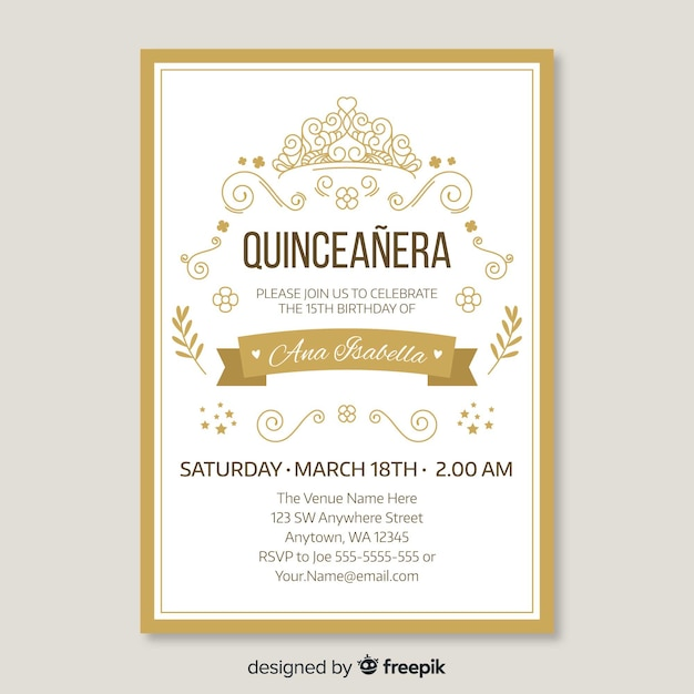 Quinceanera golden invitation template Free Vector