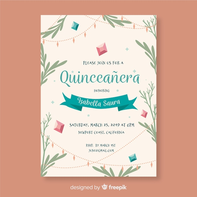 Quinceanera hand drawn leaves invitation template Free Vector