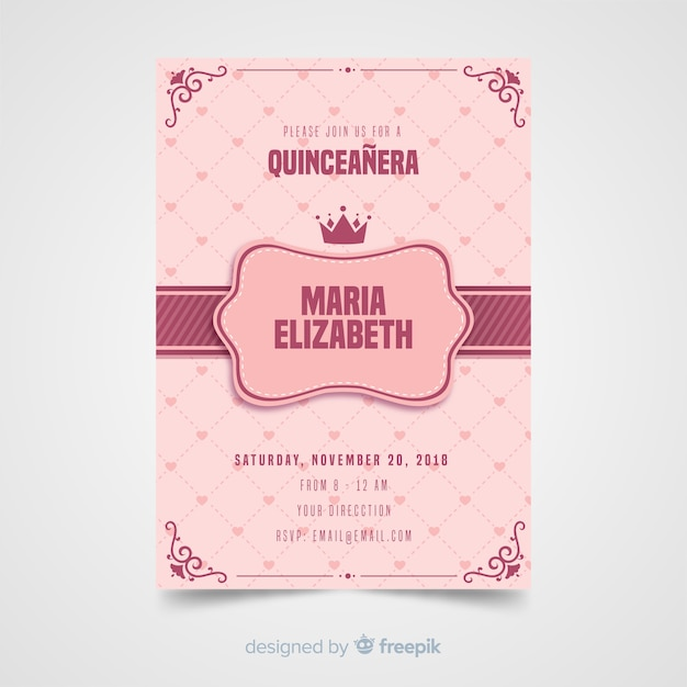 Quinceanera hearts invitation template Free Vector