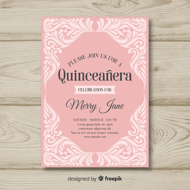 Quinceanera ornaments invitation template Free Vector