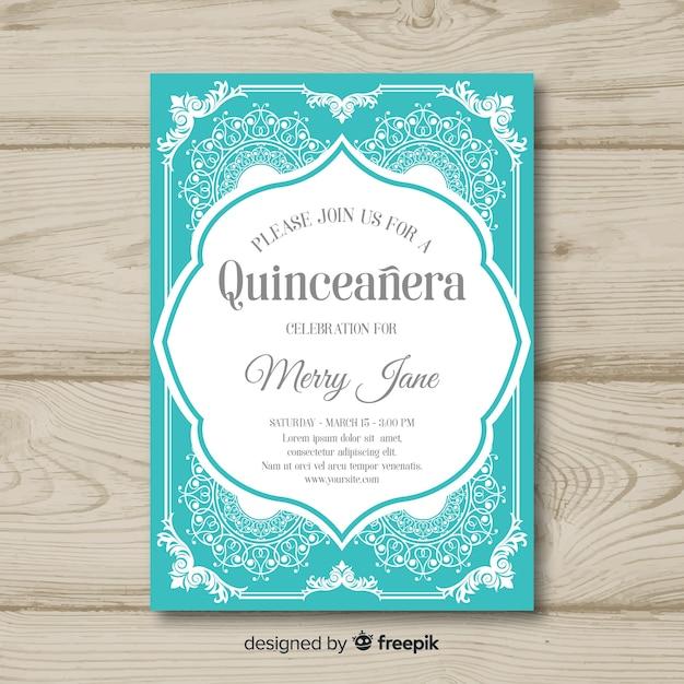 Quinceanera overloaded ornaments invitation template Free Vector