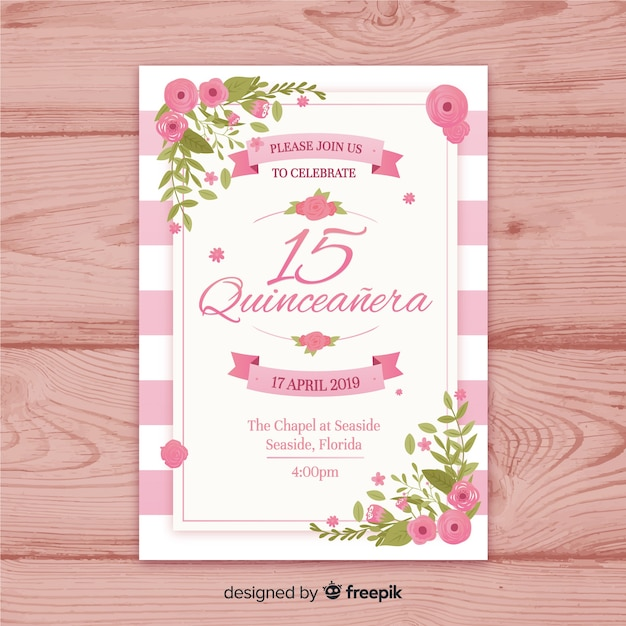 Quinceañera  party invitation Free Vector
