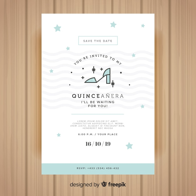 Quinceañera party invitation Free Vector