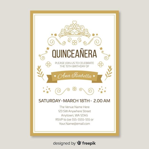 Quinceaneraゴールデン招待状のテンプレート 無料ベクター