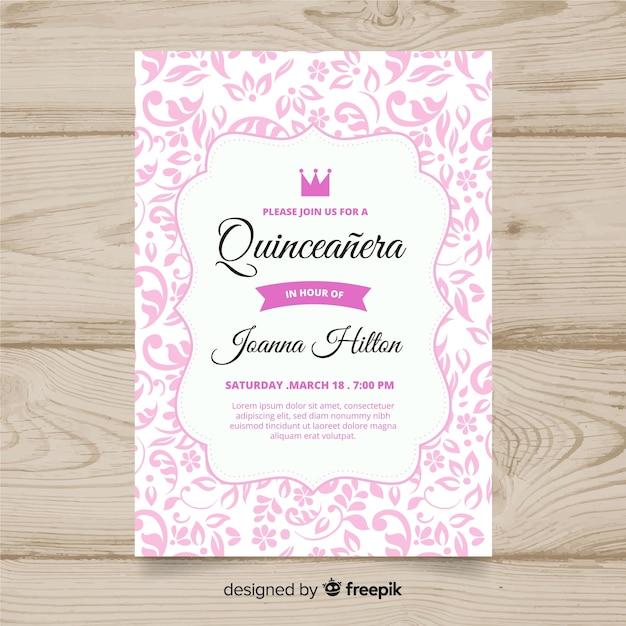 Приглашение на вечеринку quinceañera Бесплатные векторы