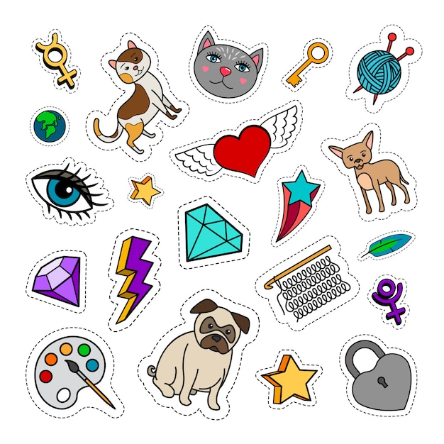 Quirky fashion patches set with animals, diamond, heart and key. vector stickers collection Premium Vector