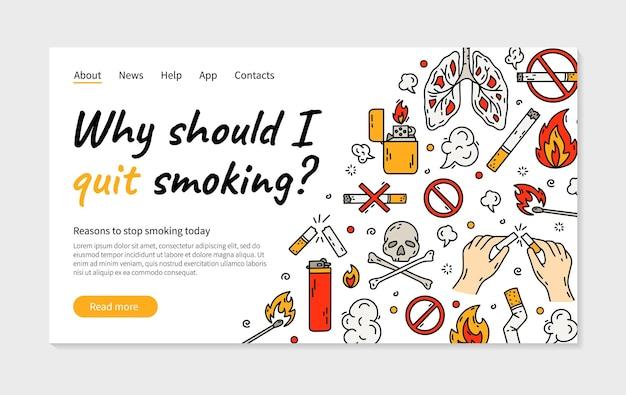 Бросить курить сигарету векторная иллюстрация целевой страницы Premium векторы