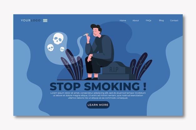 Бросить курить шаблон целевой страницы с мужчиной Бесплатные векторы