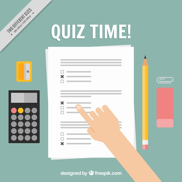Quiz background with calculator and pencil Free Vector