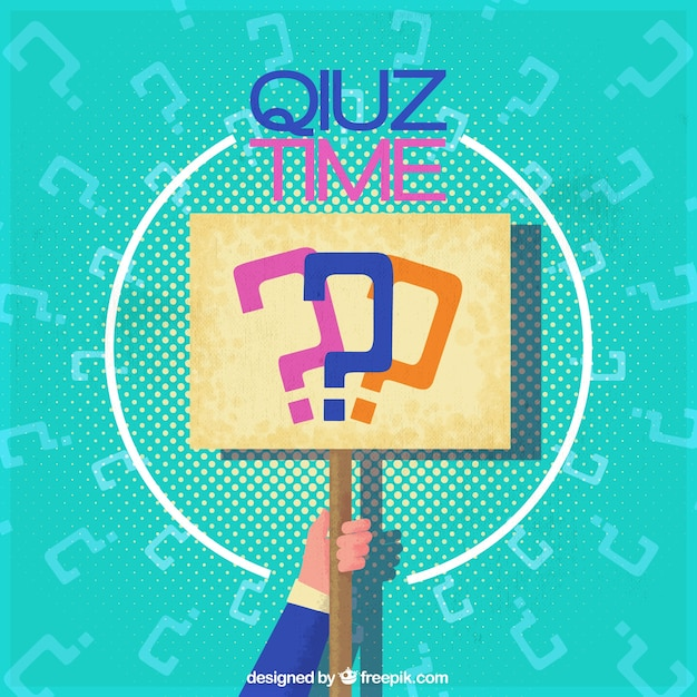 Quiz background with hand holding a sign Free Vector