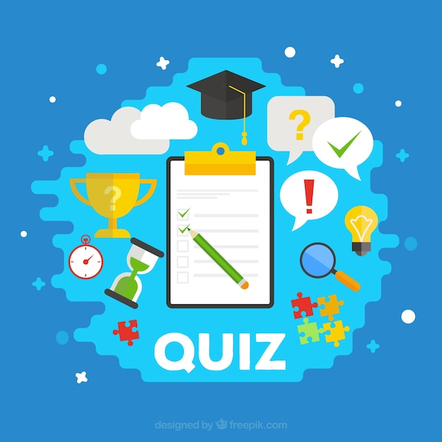quiz background with items in flat design vector