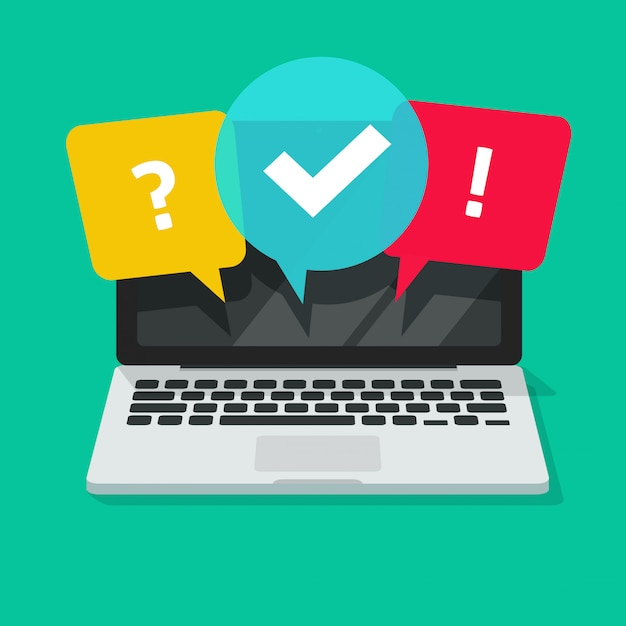 Quiz or exam online on computer screen flat cartoon ...