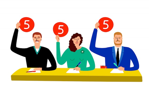 Quiz jury. competition judge group sitting at table, estimate and show opinion scorecards illustration Premium Vector