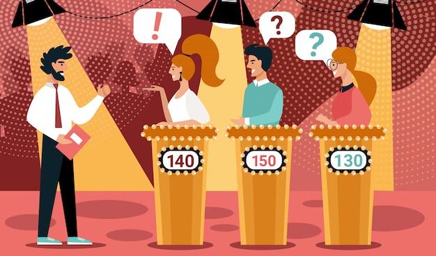 Quiz show man game host cartoon people contestant Premium Vector