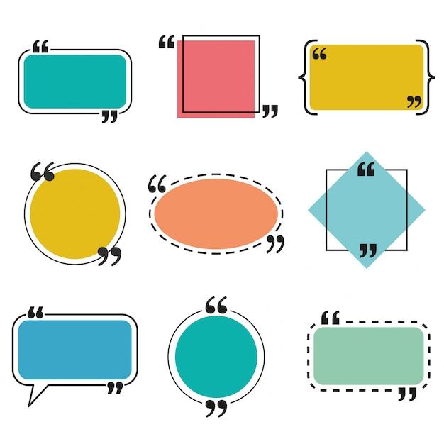Quote box and speech bubble templates set Premium Vector