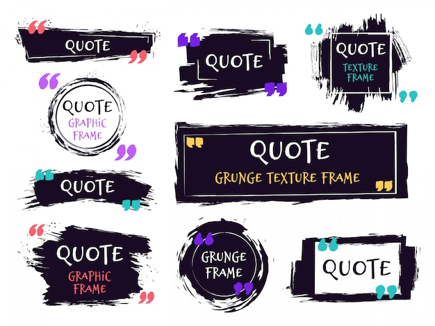 Quote brush text box. grunge textured label, sketch brush template, hand drawn rough speech bubbles. remark label frames   icons set. black ink grungy framing for motivation message Premium Vector