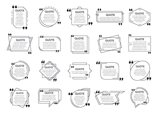 引用ボックスを引用します。テキストボックス、注釈ボックスフレーム、引用された幾何学的要素。現代の吹き出しを引用し、フレームのアイコンセットを引用します。引用の黒と白のテキスト雲のバンドル Premiumベクター