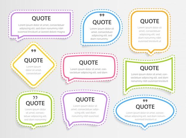 Цитата красочные 3d рамки текстовые поля пустой шаблон с цитатами дизайн информации для печати, наклейки, иллюстрации Premium векторы