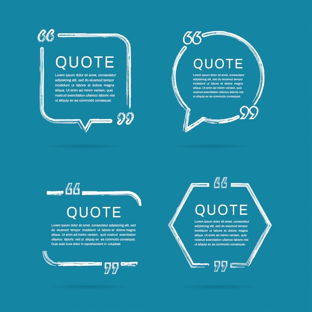 Quote frames templates. brush paint stroke of frame. Premium Vector