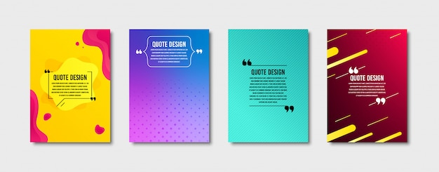 Quote frames templates set. citation text in brackets. textbox quote bubbles. cover set Premium Vect