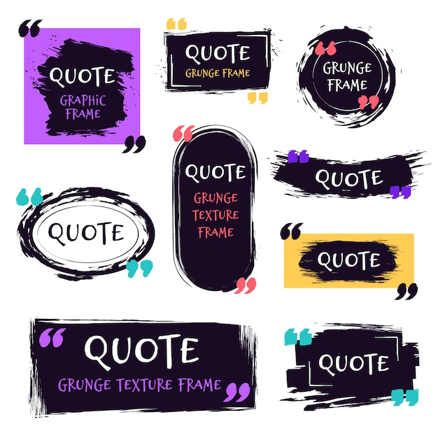 Quote grunge textured box. decorative textured speech bubbles, quotes sketch brush label, rough dialog boxes templates   icons set. quoting memo and motivation text boxes Premium Vector