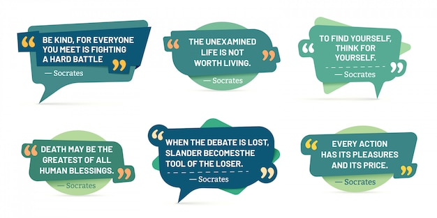Quote in quotes frames. socrates quotes, speech stickers and comment box badge  set Premium Vector