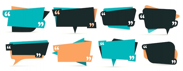 Quote in quotes. remark frames, frame for idea and quotation template  set Premium Vector