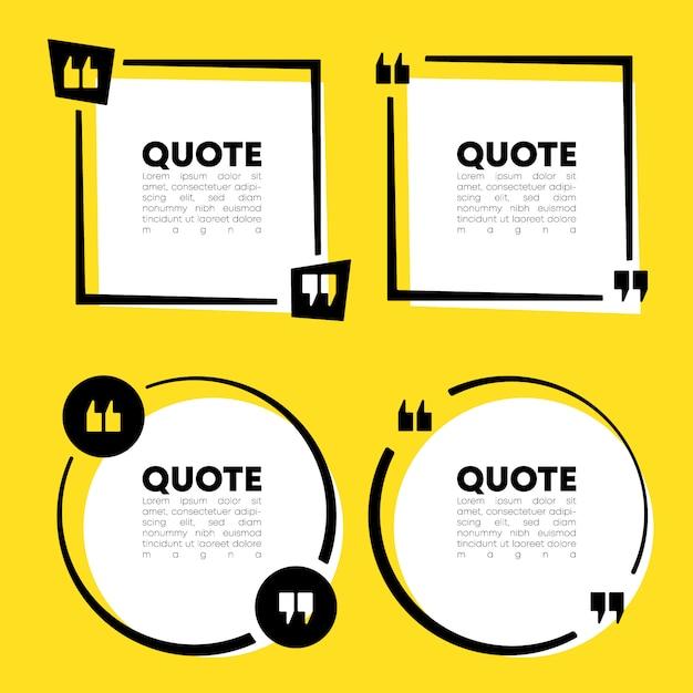 Quote speech bubble template set Premium Vector