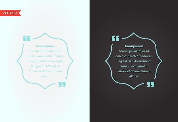 Quote template bubble. template  quote set. trendy colors. Premium Vector