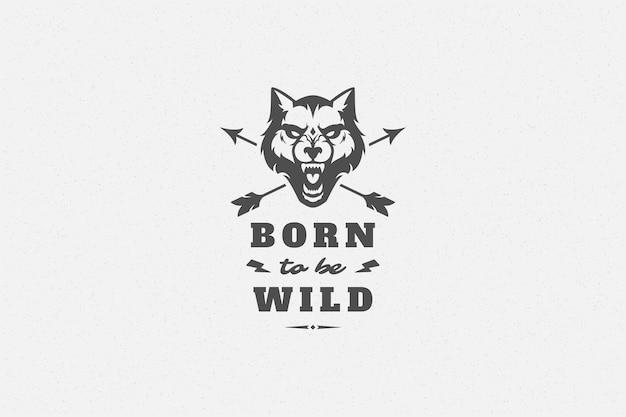 グリーティングカードやポスターなどの手描きのオオカミの頭のシンボルでタイポグラフィを引用します。 Premiumベクター