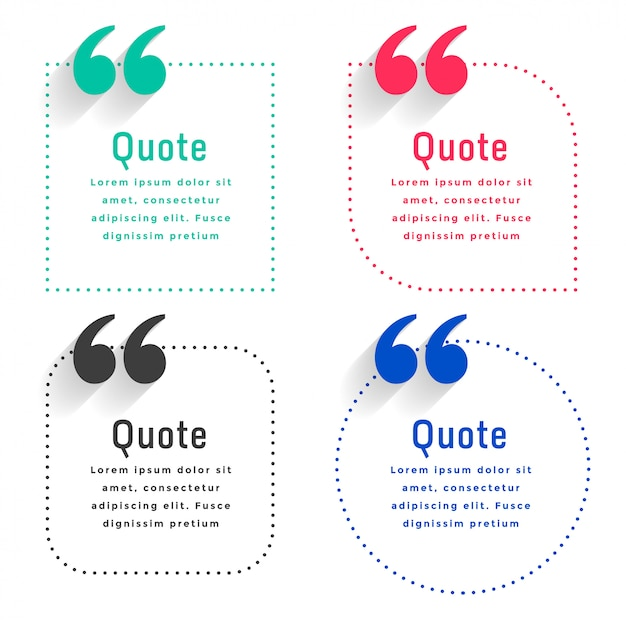 Quotes template set in dots line style Free Vector