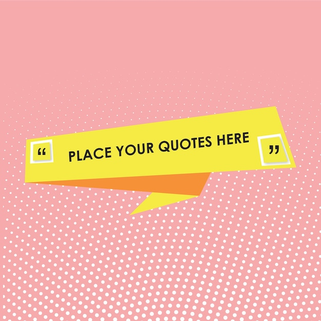 Quotes text template with yellow frame Premium Vector