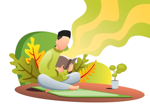Quran reading web flat illustration Premium Vector