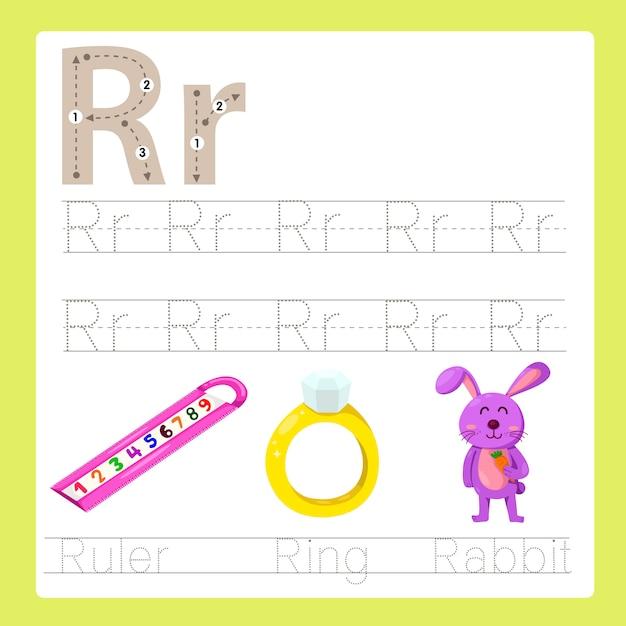 Rのイラストレーターは、azの漫画の単語を練習します。 Premiumベクター