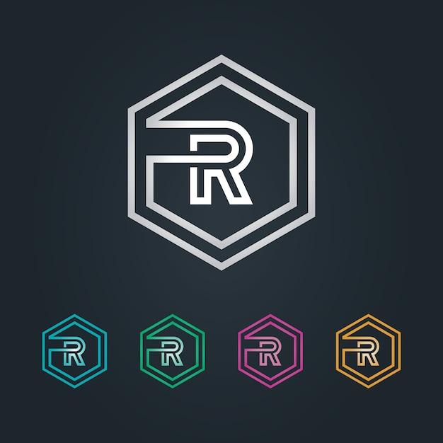 R hexagone logo Premium Vector