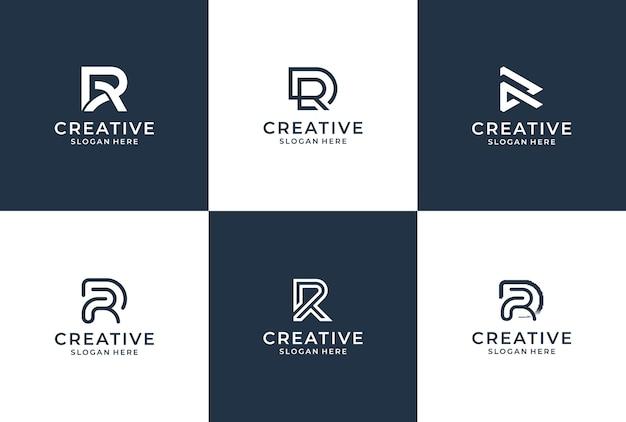 R 문자 로고 컬렉션 모노그램 스타일. 로고 영감 번들. 프리미엄 벡터