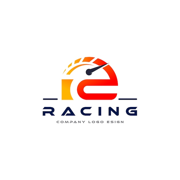 R letter racingロゴデザイン Premiumベクター