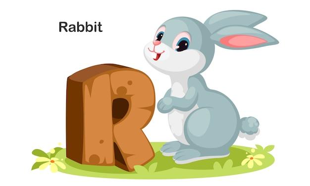 R for rabbit Premium Vector