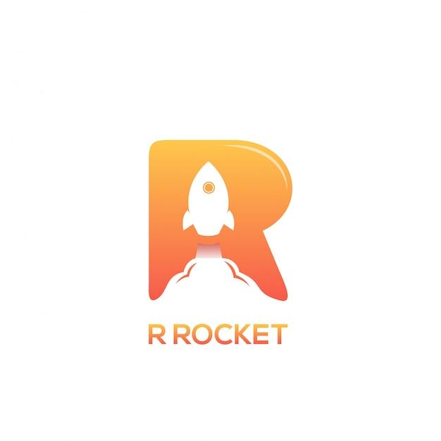 R rocket logo Premiumベクター