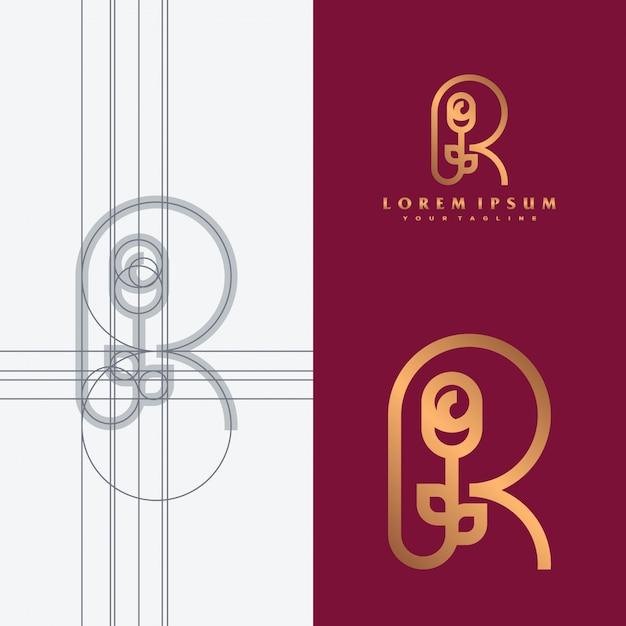 R & rose logo concept illustration. Premium Vector